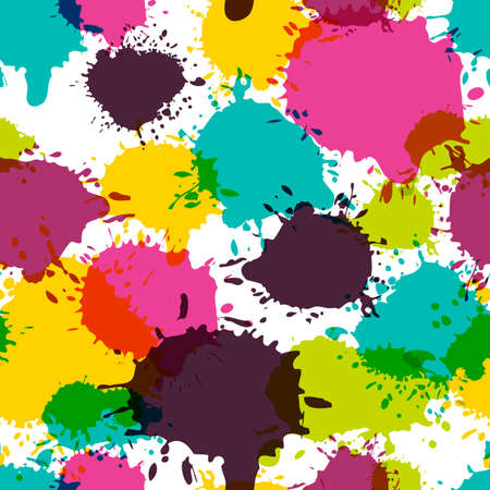 cmyk abstract: Vector seamless abstract pattern, watercolor splashes, blots, stains. Multicolor trendy hand painted background in pink, blue, yellow colors. Design for fashion print, holiday package and wrapping. Illustration