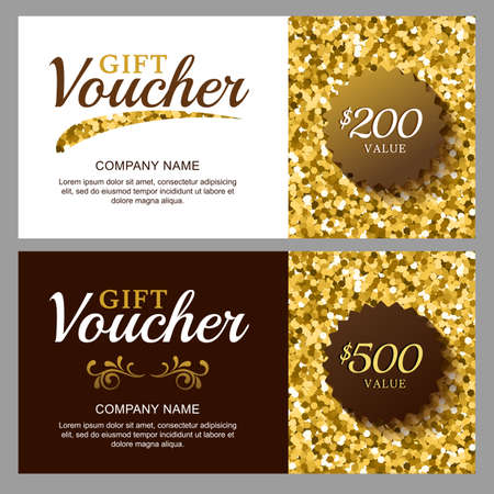 Vector gift voucher with golden sparkling pattern business card vector gift voucher with golden sparkling pattern business card template abstract luxury glow background colourmoves