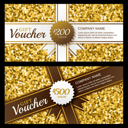 accessorize: Vector gift voucher with golden sparkling pattern and ribbon. Business card template. Abstract luxury background. Concept for boutique, fashion shop, accessorize, jewelry, flyer, banner design.