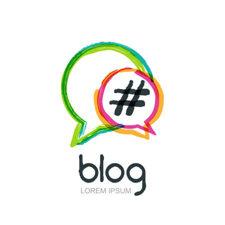 blog design: Vector watercolor hand drawn trendy blog icon. Abstract isolated logo. Colorful circle speech bubbles with hashtag symbol. Design concept for blog, chat, social media network, forum, communication.