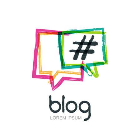 Vector aquarel hand getekende trendy blog icoon. Abstract embleem geïsoleerd. Kleurrijke vierkante tekstballonnen met hashtag-symbool. Ontwerp concept voor de blog, chatten, social media netwerk, forum, communicatie.