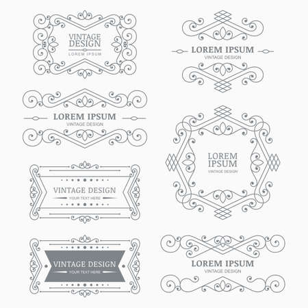 Set of vector vintage flourish frames, elements, linear symbols, logo. Abstract decorative background. Trendy design concept for boutique, hotel, restaurant, floral shop, jewelry, fashion, emblem. Ilustrace