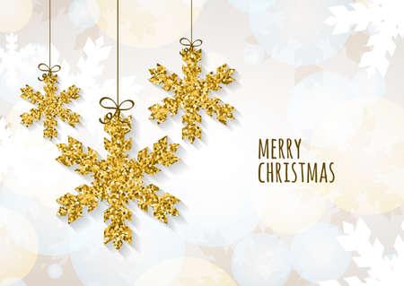 Vector Kerstmis of Nieuwjaar wenskaartsjabloon met gouden glitter sneeuwvlokken. Abstracte illustratie. De winter sneeuw, gloeiende achtergrond. Vakantie decoratie, speelgoed en snuisterijen.