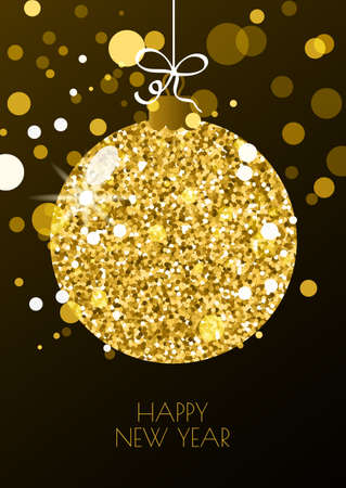 golden ball: Christmas or New Year greeting card template. Illustration of golden christmas ball on black background. Winter holidays decoration. Trendy design, concept for banner, poster, flyer design.