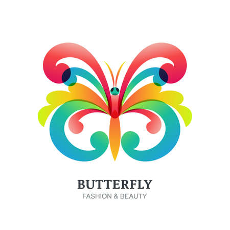 creative beauty: Vector illustration of colorful decorative butterfly. Abstract creative logo sign. Modern Trendy design concept for beauty salon, fashion, spa, natural organic cosmetics, makeup, visage, accessories.