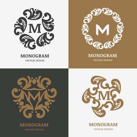 boutique hotel: Set of vector vintage logos design template. Decorative retro ornament, flourishes frame background. Abstract concept for boutique, hotel, restaurant, floral shop, jewelry, fashion, heraldic, emblem.