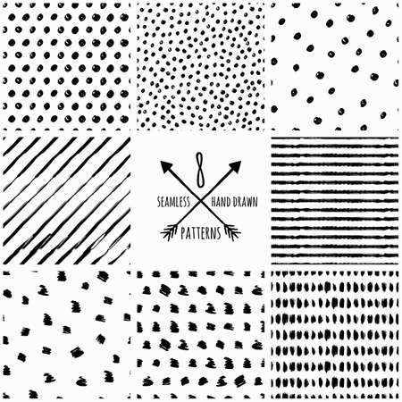 Set of vector abstract hand drawn seamless patterns. Black and white doodle universal background made with watercolor, ink and marker. Trendy design concept for fashion textile print.
