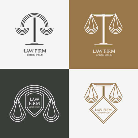 legal law: Set of vector line style vintage law firm   design template. Trendy abstract illustration of scales and shield. Design concept for law and legal business, heraldic emblem, lawyer, labels, badges. Illustration