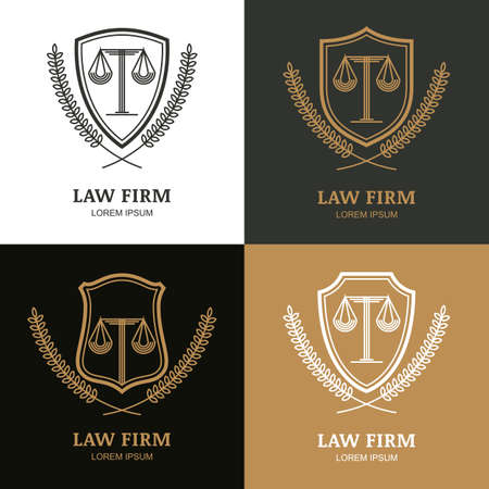 legal law: Set of vector linear vintage law firm   template. Trendy abstract illustration of scales, shield, laurel wreath. Design concept for law and legal business, heraldic emblem, lawyer, label, badges.