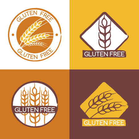 wheat harvest: Set of vector gluten free product badges, labels, stickers. Wheat ears logo design template. Watercolor brush illustration. Abstract concept for organic products, harvest, grain, bakery, healthy food. Illustration