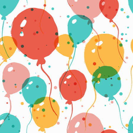 balloon background: Vector  watercolor seamless pattern with multicolor balloons. Abstract colorful  background. Design concept for holidays birthday greeting cards, festival decoration, gift card.
