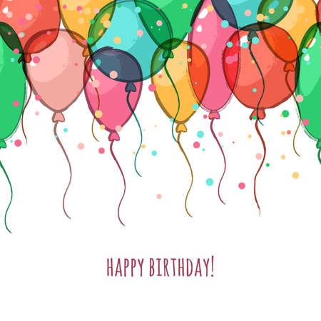 tarjeta de felicitación de cumpleaños con globos de aire colorido del vector. horizontales de fondo de la acuarela sin fisuras con el lugar de texto. concepto de moda para la bandera del día de fiesta, decoración del festival, diseño de volante.