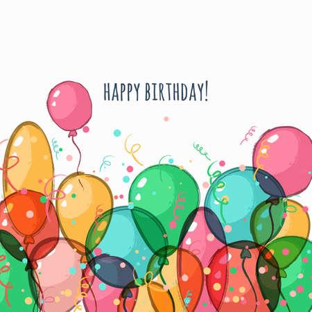 Verjaardag wenskaart met kleurrijke vector lucht ballonnen. Aquarel hand getekende achtergrond met plaats voor tekst. Trendy concept voor vakantie banner, festival decoratie, flyer design. Stock Illustratie