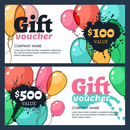 business event: Vector gift voucher with watercolor air balloons. Business card template. Abstract creative background for gift card. Concept for flyer, banner design, event agency, celebration party.