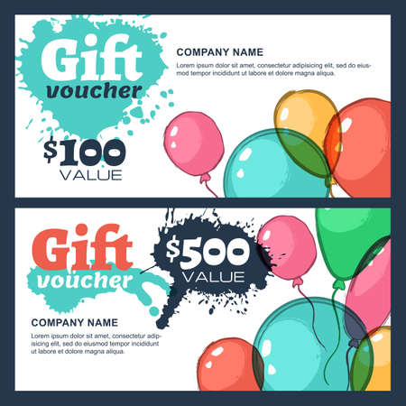 business event: Vector gift voucher with watercolor air balloons. Business card design  template. Abstract colorful background for gift card. Concept for flyer, banner design, event agency, celebration party.