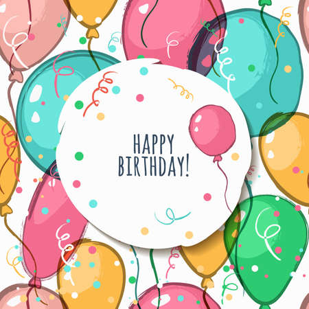 Vector tarjeta de cumpleaños con el modelo inconsútil. Ilustración de globos de aire acuarela. Fondo colorido abstracto. Concepto de diseño de tarjetas de felicitación de vacaciones, fiesta, carnaval, bandera, diseño de carteles.