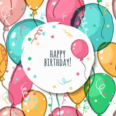 marco cumpleaños: Vector tarjeta de cumpleaños con el modelo inconsútil. Ilustración de globos de aire acuarela. Fondo colorido abstracto. Concepto de diseño de tarjetas de felicitación de vacaciones, fiesta, carnaval, bandera, diseño de carteles.