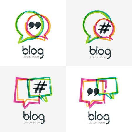Set of vector watercolor hand drawn blog icon. Abstract isolated  . Colorful square speech bubbles with hashtag symbol. Design concept for blog, chat, social media network, forum, communication.
