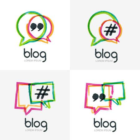 Ensemble de vecteur aquarelle main blogue dessinée icône. Résumé isolé. discours carré Colorful bulles avec le symbole de hashtag. Le concept du design pour blog, le chat, le réseau de médias sociaux, forum, communication.