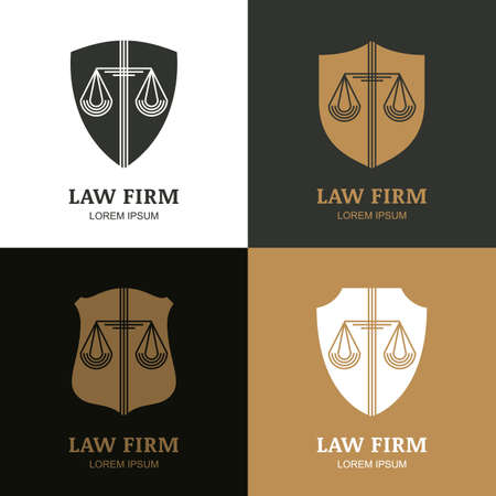 law: Set of vector line art vintage law firm template. Trendy abstract illustration of scales and shield. Design concept for law and legal business, heraldic emblem, lawyer, label, badges. Illustration