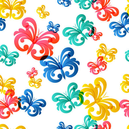Vector colorful seamless pattern with flying butterflies. Abstract trendy background. Design concept for fabric design, textile print, wrapping paper or web background.