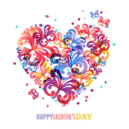 Valentines day background. Vector greeting card template with colorful butterflies in heart shape. Abstract romantic illustration. Design concept for holiday postcard, flyer, banner, poster.