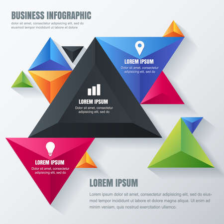 Vector business infographic design template with colorful triangle pyramids. Concept for brochure, flyer, poster, banner. Multicolor geometric material background with place for text.