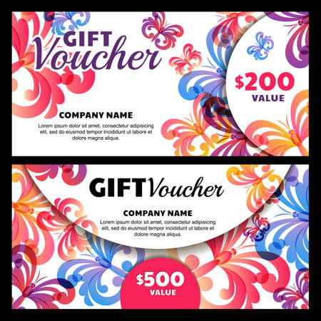 business event: Vector gift voucher with butterflies. Business card template. Abstract creative background for gift card. Concept for flyer, banner, birthday card, invitation design, event agency, beauty salon.