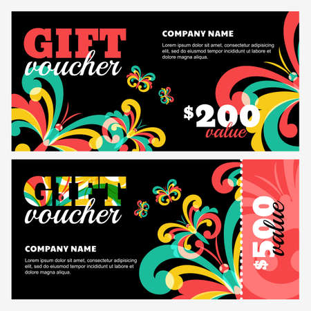 creative beauty: Vector gift voucher with colorful butterflies on black background. Abstract creative background for gift card. Concept for flyer, banner, birthday card, invitation design, event agency, beauty salon.