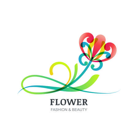 creative beauty: Vector illustration of colorful exotic flower. Abstract creative   sign. Modern trendy design concept for beauty salon, spa, natural organic cosmetics, makeup, visage, accessories, organic product.