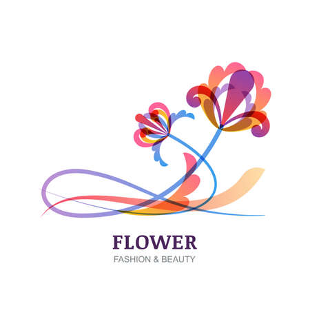 feminine: Vector illustration of colorful tropic flowers. Abstract creative sign. Trendy design concept for beauty salon, spa, natural organic cosmetics, makeup, visage, floral shop, organic product. Illustration