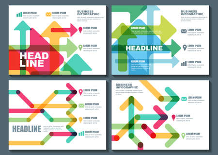 business flyer: Set of vector business template for flyer, banner, brochure, poster, infographic design. Abstract modern background. Multicolor transparent arrows background. Illustration