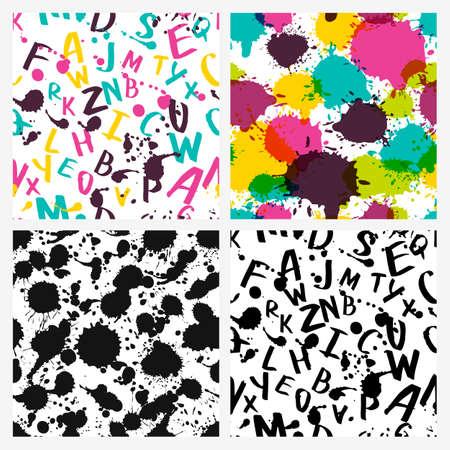 written: Set of vector seamless patterns. Watercolor latin alphabet, splashes and stains. Hand drawn letters, abstract ink background. Design for textile print, web backgrounds, wrapping paper, school theme. Illustration