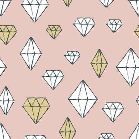 diamante: Vector patr�n transparente con cristales de diamante de la acuarela dibujado a mano. pastel de fondo. Concepto de dise�o para el dise�o de la tela, impresi�n textil, papel de regalo o fondos web.