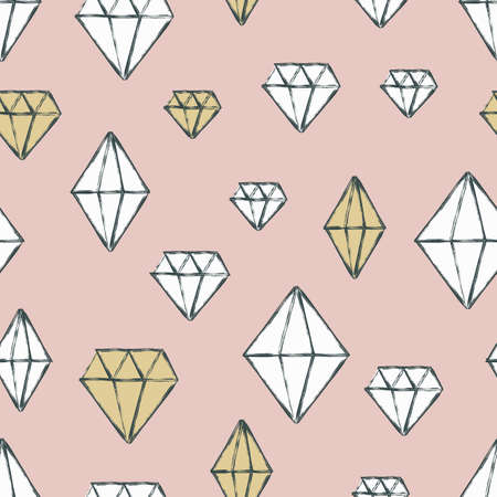 diamond texture: Vector seamless pattern with hand drawn watercolor diamond crystals. Pastel background. Design concept for fabric design, textile print, wrapping paper or web backgrounds.