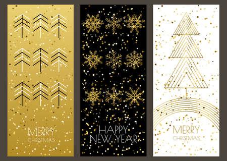 Vrolijke Kerstmis of Gelukkig Nieuwjaar wenskaarten set met vector gouden schets sneeuwvlokken en kerstboom. Trendy design template voor vakantie achtergronden, flyer, uitnodiging, banner.