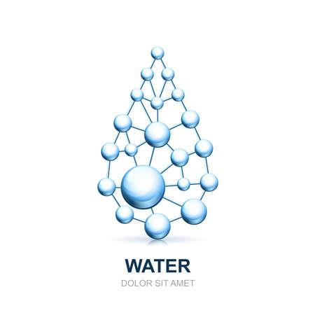 symbole chimique: la structure cellulaire et moléculaire Résumé de goutte d'eau. Vector icône de modèle de conception. Atomes et molécules symbole. Concept pour la science, médicale, de la biotechnologie, de la cosmétologie ou des thèmes de l'industrie chimique.