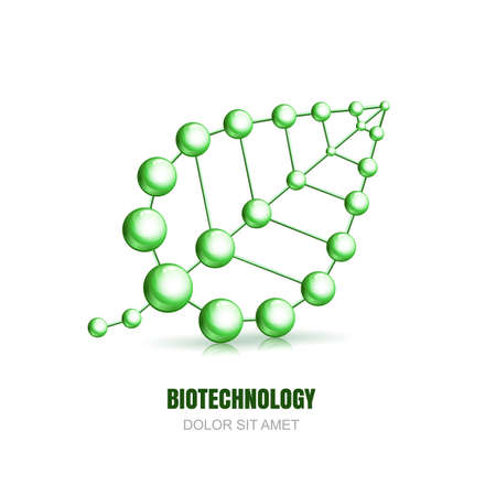 Abstract molecular cell structure of leaf. Vector  icon design template. Atoms and molecules symbol. Concept for science, ecology, biotechnology, cosmetology or chemical industry themes.