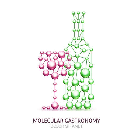 gastronomy: Abstract wine bottle and glass from molecules. Vector illustration. Molecular structure icon. Design for eco product, molecular gastronomy, food and cuisine, wine list, bar menu, alcohol drinks.