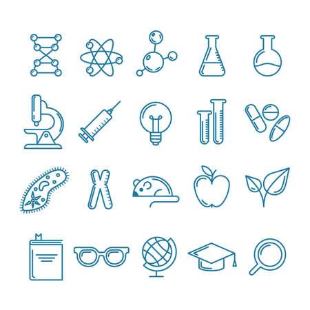 설정 벡터 윤곽선 아이콘 및 디자인 요소입니다. 연구, 기술 및 혁신 기호입니다. 라인 로고 컬렉션. 과학, 교육, 의료, 화학 산업 테마에 대 한 개념입 일러스트