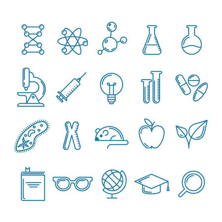 experiments: Vector outline icons set and design elements. Research, technologies and innovation symbols. Line logo collection. Concept for science, education, medical, chemical industry themes.