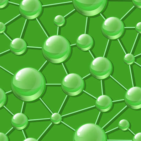 macro nature: Abstract molecular structure seamless vector pattern. Green nature macro background. Design concept for science, ecology, biotechnology, cosmetology, chemical industry themes.