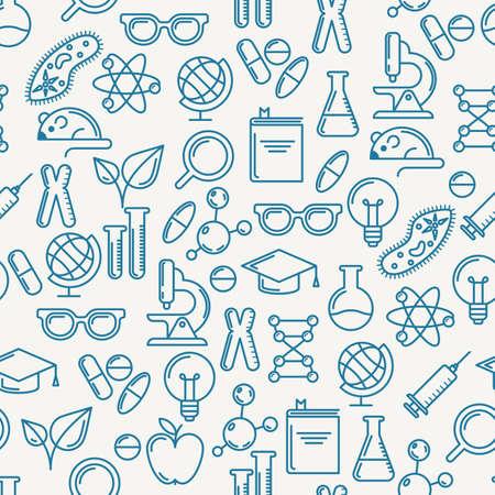 Vector naadloos patroon met schetsen symbolen van wetenschap, onderwijs en onderzoek. Abstracte blauwe en witte achtergrond. Concept voor medische, innovatie, chemische industrie thema. Lineaire vlakke pictogrammen instellen. Stock Illustratie