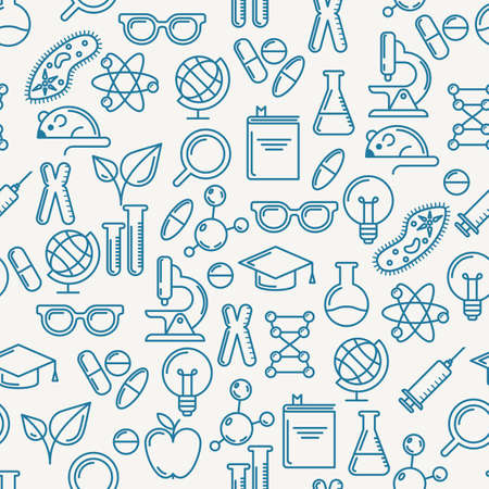 chemistry lab: Vector seamless pattern with outline symbols of science, education and research. Abstract blue and white background. Concept for medical, innovation, chemical industry themes. Linear flat icons set.