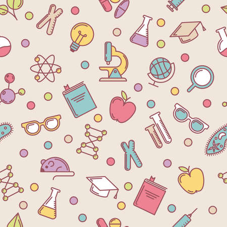 Vector colorful seamless pattern with flat illustrations of science, education and research tools. Abstract background. Concept for medical, innovation, chemical industry, school themes.