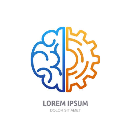 invention: Vector logo icon with brain and gear cog. Abstract outline illustration. Design concept for business solutions, high technology, development, invention and innovation, creativity, scientific themes.
