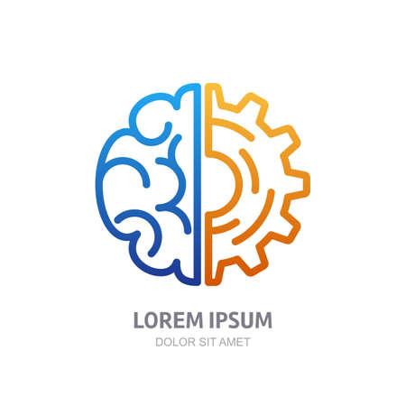 Vector Logo-Symbol mit Gehirn und Getriebezahnrad. Abstrakt Prinzipdarstellung. Design-Konzept für Business-Lösungen, Hochtechnologie, Entwicklung, Erfindung und Innovation, Kreativität, wissenschaftliche Themen. Logo