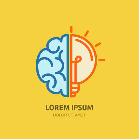 Vector logo icon with brain and light bulb. Abstract flat illustration. Design concept for business solutions, high technology, development, invention and innovation, creativity, scientific themes. Ilustração