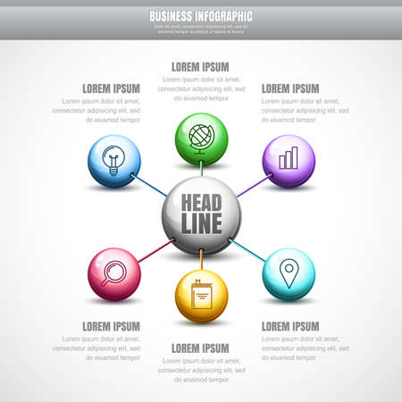 vector  molecular: Vector business infographic design. Colorful molecular structure background. Concept for science, medical, biotechnology, chemical industry themes. Template for banner, brochure, presentation, flyer.
