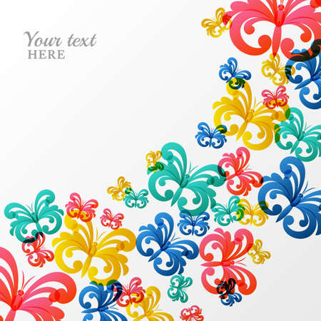 Vector background with multicolor butterflies. Abstract illustration. Design concept for birthday greeting card, beauty salon and cosmetics, fashion, flyers, banners, posters design. Illustration